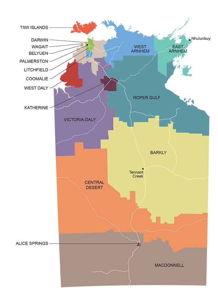 A map of all local government areas in the Northern Territory